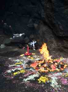 Ritual fire at Cerro de Oro